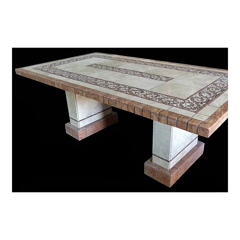 Claredon Stone Tile Dining Table with Pompeii Table Base Set