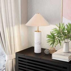 Uniquely Elegant White Marble & Beige with Brass Finish Table Lamp