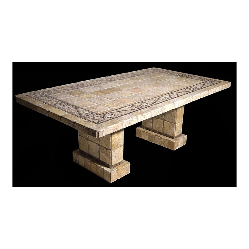 Ramses Stone Tile Dining Table with Matching Pompeii Table Base Set