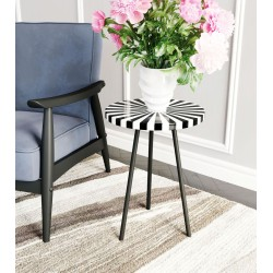 Optical Black and White End Table