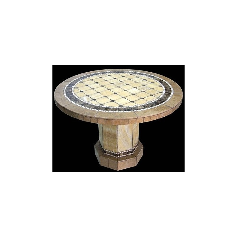 Alameda Round Stone Tile Dining Table with Roma Table Base