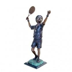 Bronze Boy Playing Tennis Sculpture