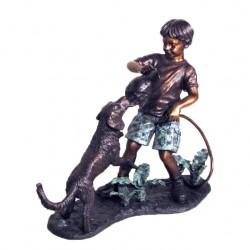 Bronze Boy & Dog Tug-a-War...