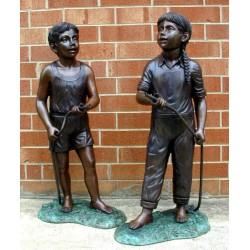 Bronze Boy & Girl Garden...