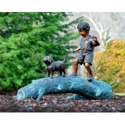 Bronze Boy and Dog walking on Log Sculpture