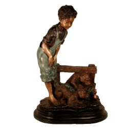 Bronze Boy and Two Puppies Sculpture