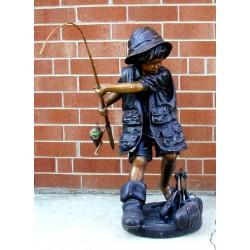 Bronze Boy Fishing Fountain Sculpture