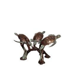 Bronze Three Sea Turtles...