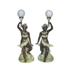 Bronze Sitting Lady on Rock Torchiere Sculpture Pair