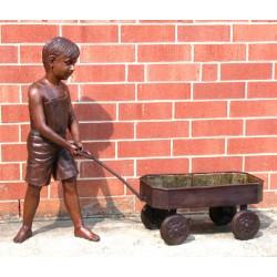 Bronze Boy pulling Wagon Planter Sculpture