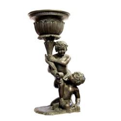 Bronze Two Boys Urn Sculpture