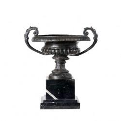 Bronze Tuscan Urn Setting on Marble Base