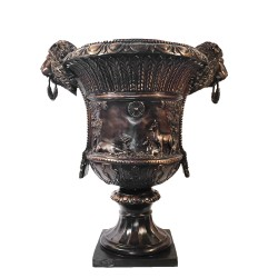 Bronze Lion Head Urn with Deer Family and Rings