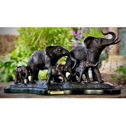 Bronze Table Top Elephant Family Sculpture