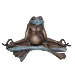 Bronze Table Top Meditating Frog Sculpture II
