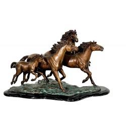 Bronze Herd of Wild Mustangs Table Top Sculpture