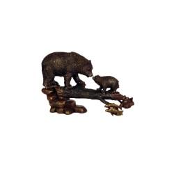 Bronze Bear & Cub on Log Table Top Sculpture
