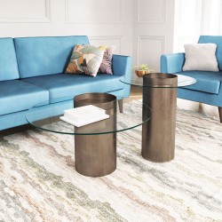 Off Set Coffee Table Antique Gold
