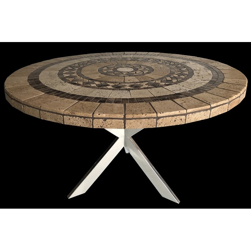 Canyon Round Stone Tile Dining Table with Polished Stainless Steel Table Base