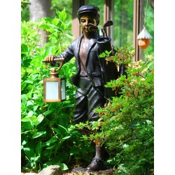 Bronze Golf Caddie Holding Lantern Sculpture
