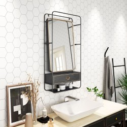 Gunmetal and Gold Mirror with Shelves & Drawer