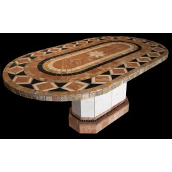 Bellagio Racetrack Oval Stone Tile Dining Table