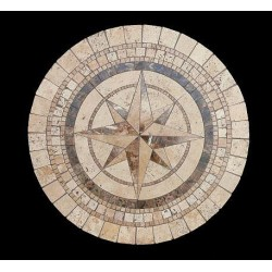 Compass Stone Tile Dining Table - Table Top View