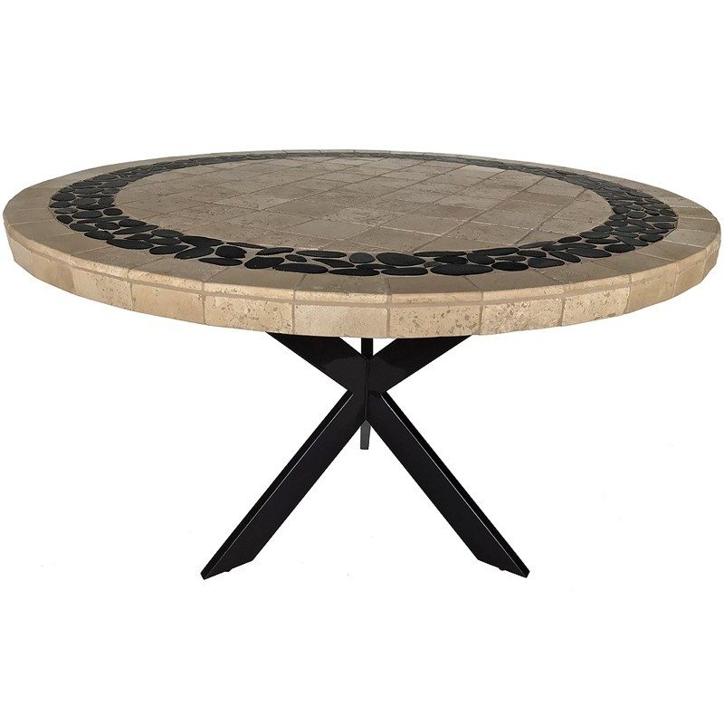 Pebble Creek Stone Tile Dining Table