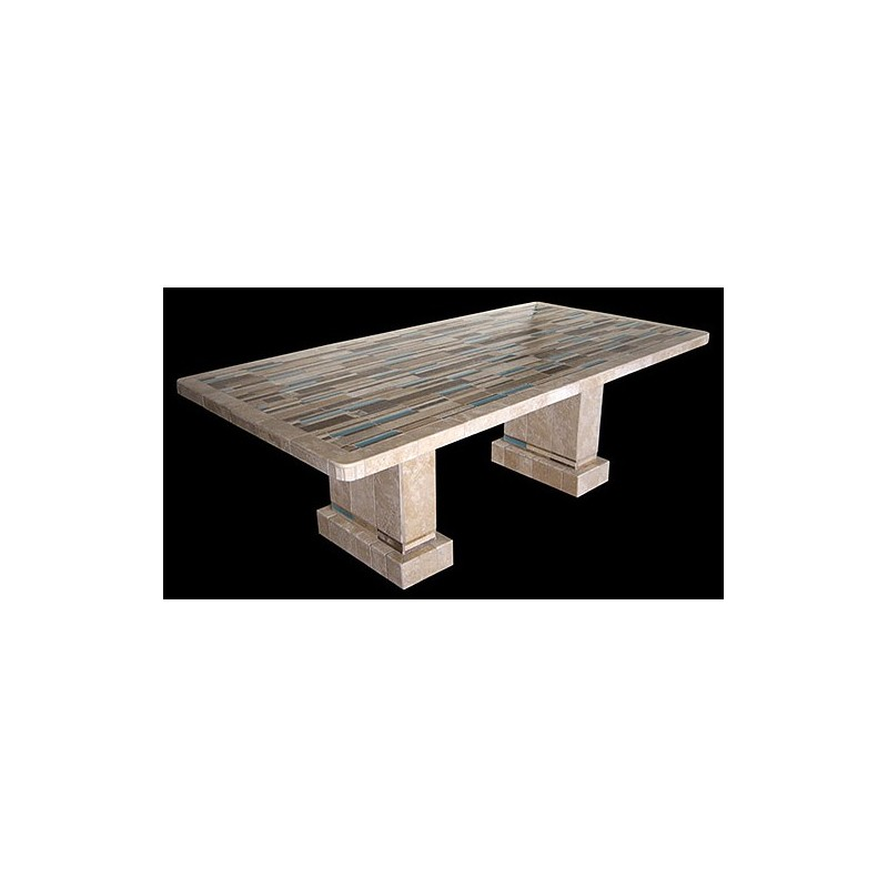 Aqua Stone Tile Dining Table