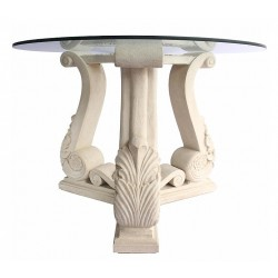 Fleur Limestone Dining Table Base - Side View