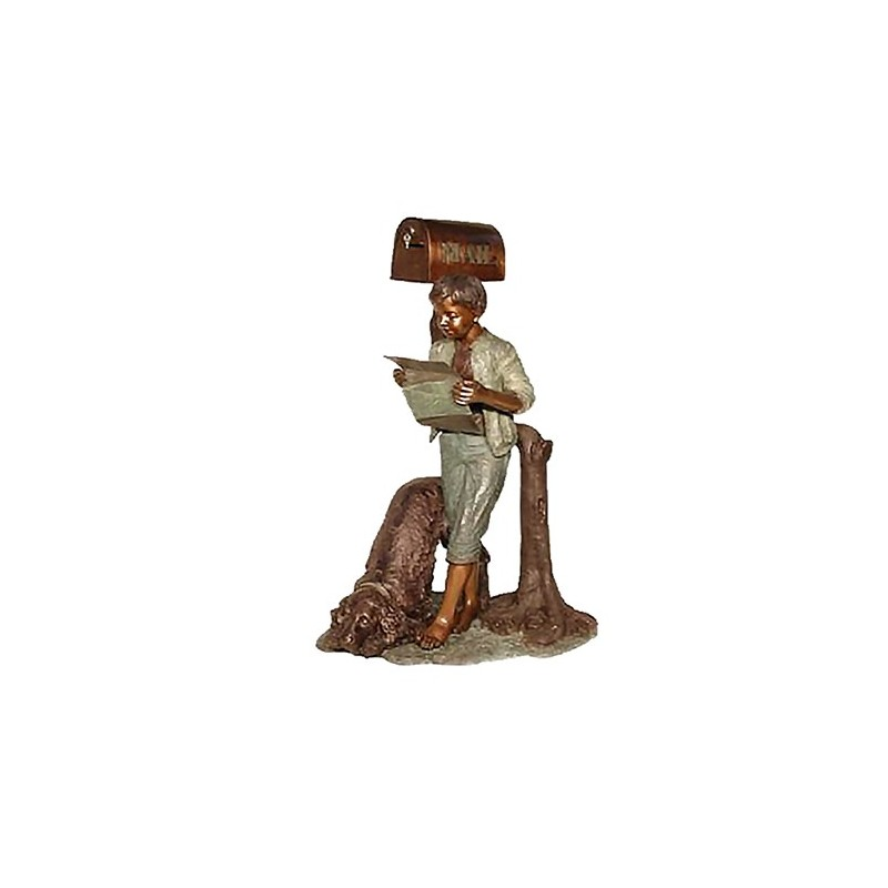 Bronze Boy & Dog Reading Newspaper Mailbox Sculpture