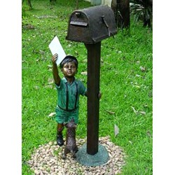 Bronze Boy with Letter Mailbox