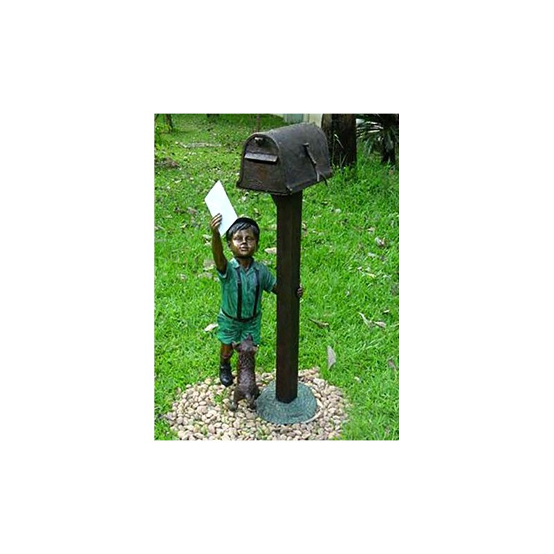 Bronze Boy with Dog Letter Mailbox