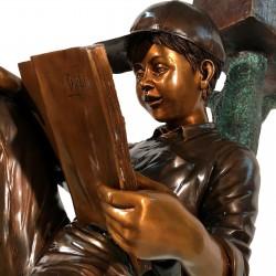 Bronze Boy & Dog on Log Mailbox Face