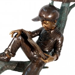 Bronze Boy & Dog on Log Mailbox - Closeup
