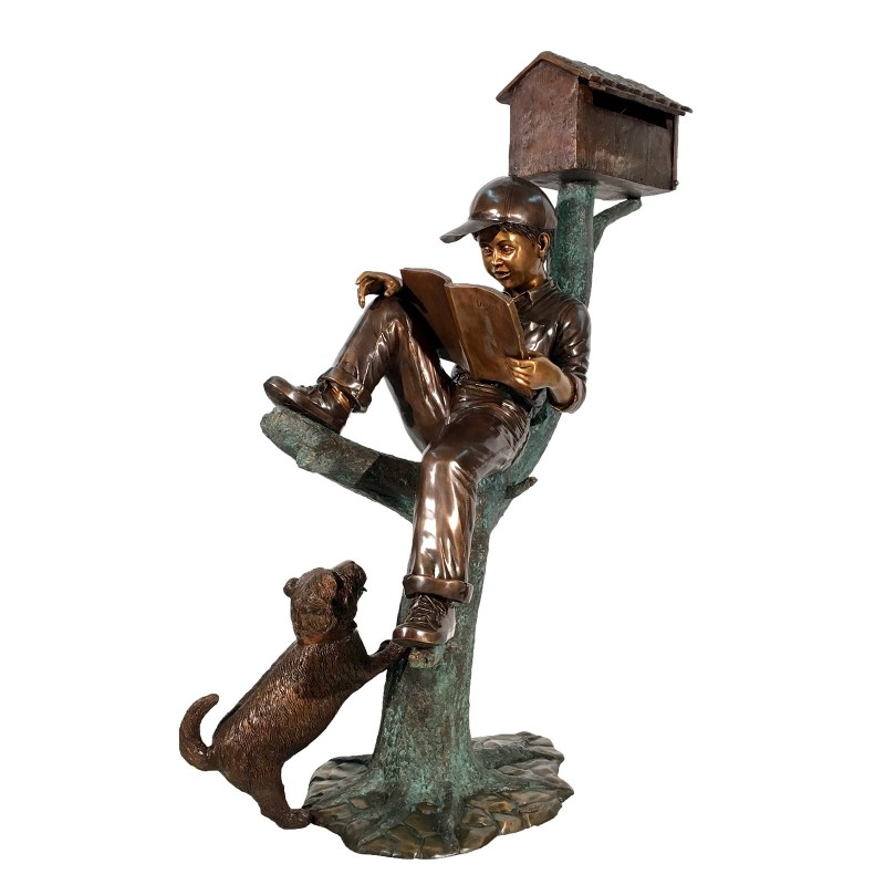 Bronze Boy & Dog on Log Mailbox