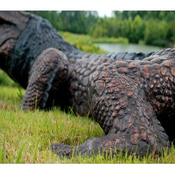 Bronze Alligator Fountain Sculpture - Closeup