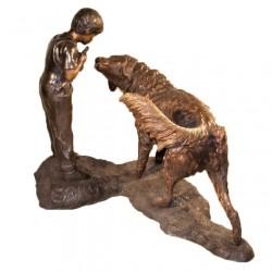 Bronze Boy & Dog Fountain Sculpture