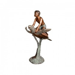 Bronze Boy on Sea Turtle...