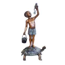 Bronze Boy on Turtle holding Frog Sculpture