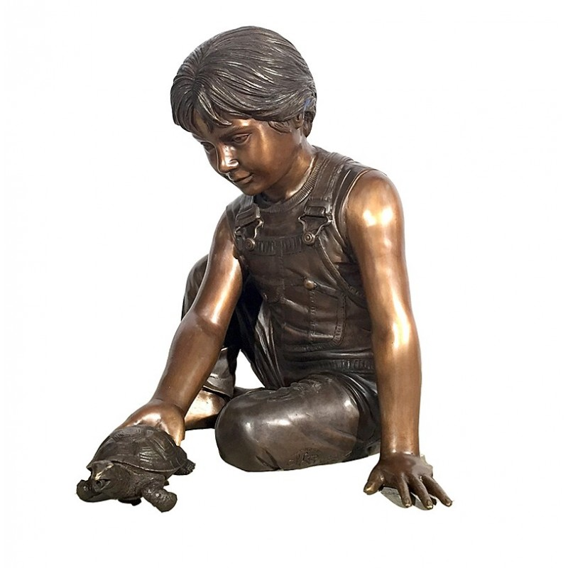 Bronze Boy holding Turtle Fountain Sculpture