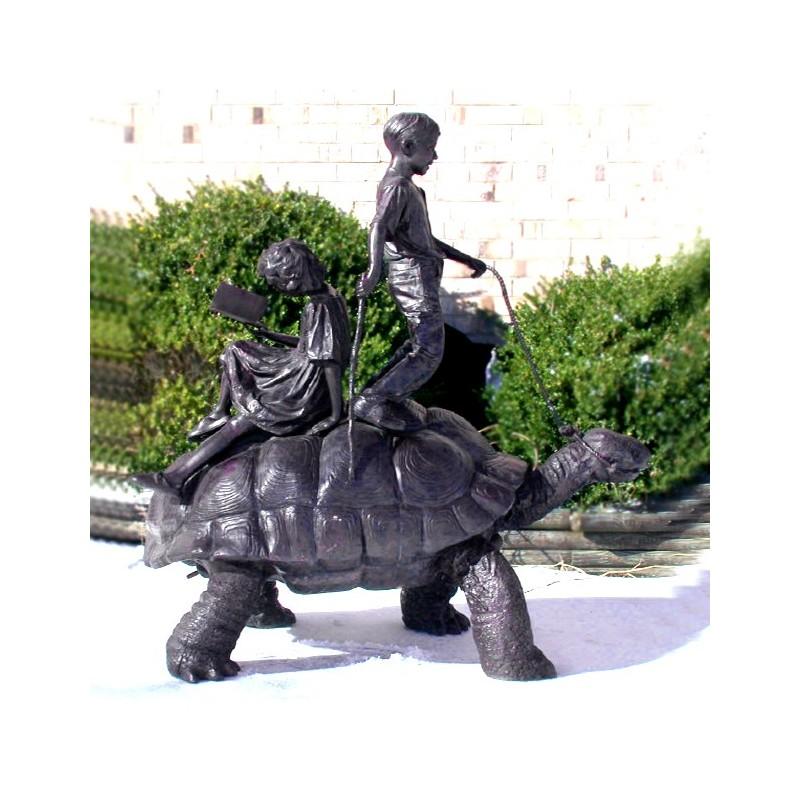 Bronze Children on Turtle Fountain Sculpture