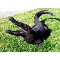 Bronze Crocodile Fountain Sculpture - Lawn