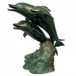 Bronze Dolphin Trio Fountain Sculpture