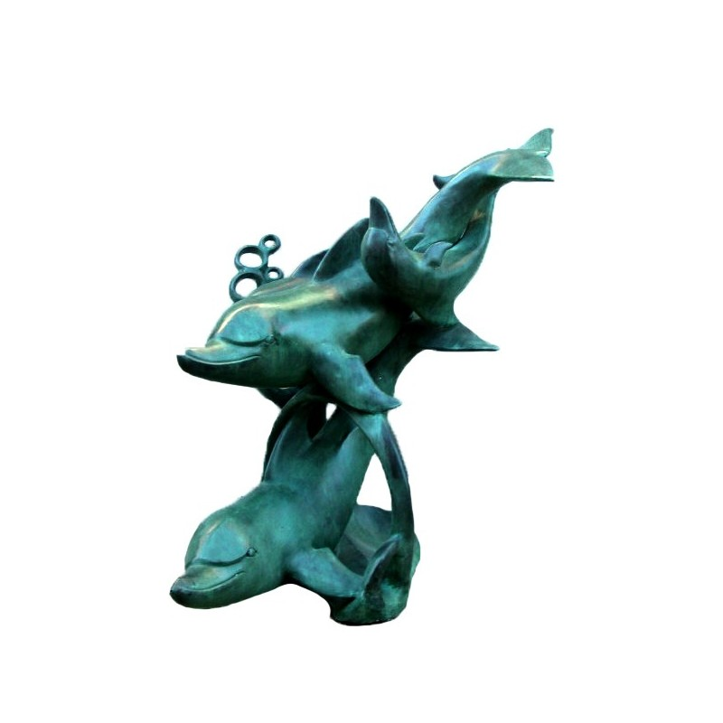 Bronze Dolphins Swimming Fountain Sculpture
