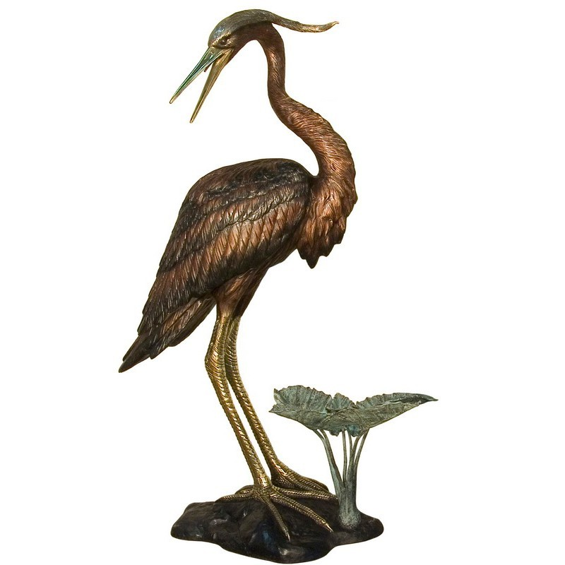 Bronze Heron Fountain Sculpture - Left