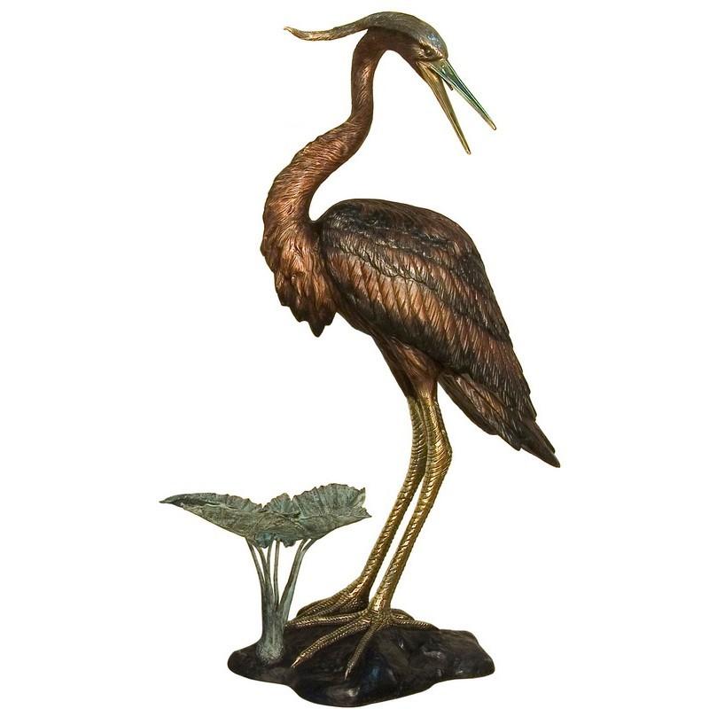 Bronze Heron Fountain Sculpture - Right