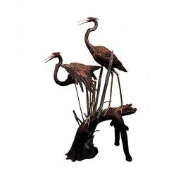 Bronze Herons on Branch Fountain Sculpture