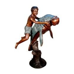 Bronze Boy on Manatee Fountain Sculpture