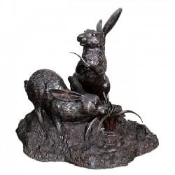 Bronze Rabbit Fountain Sculpture
